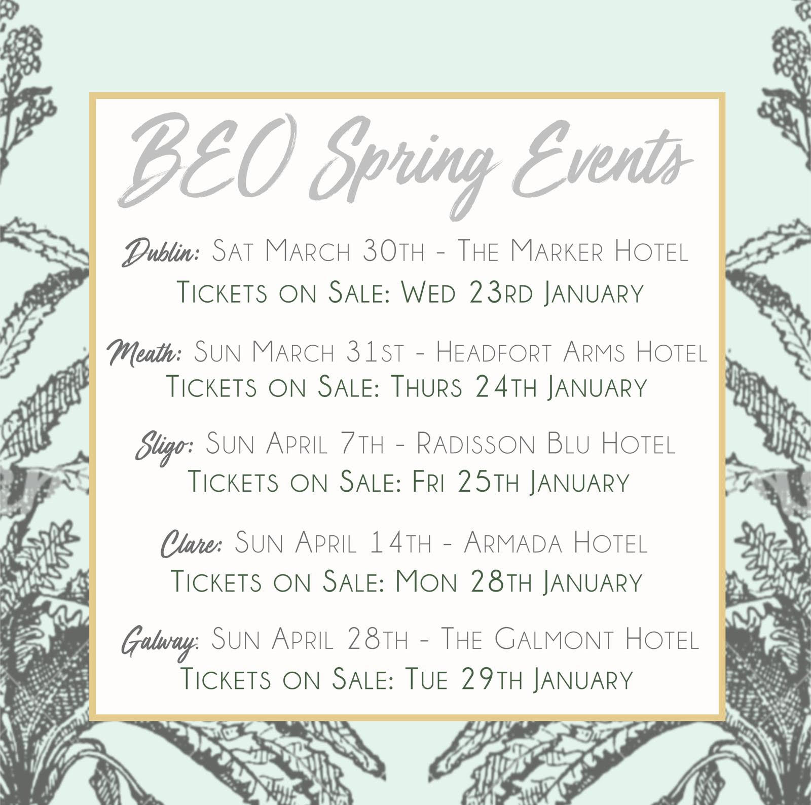 BEO Spring Events in Dublin, Meath, Sligo, Clare, and Galway